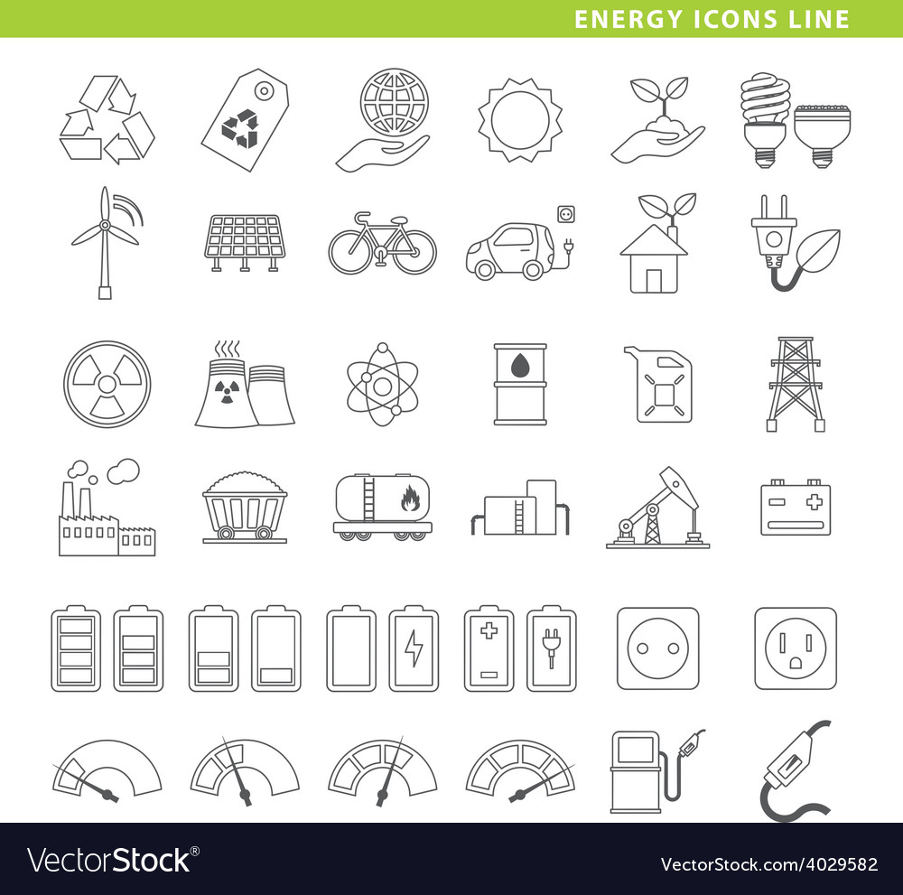 Energy icons line vector | Price: 1 Credit (USD $1)