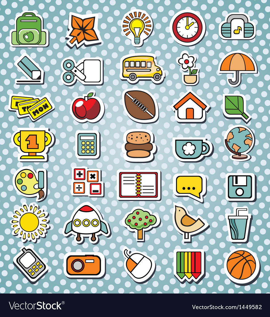 Funny elementary school icons vector | Price: 1 Credit (USD $1)