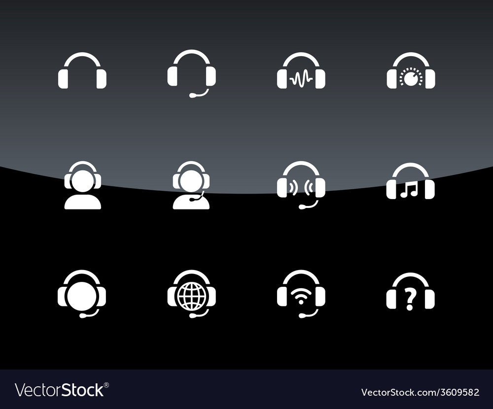 Headphones icons on black background vector | Price: 1 Credit (USD $1)