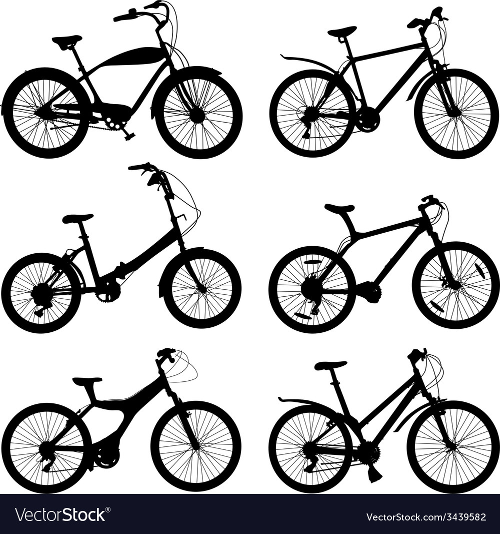 Set of silhouettes of different bikes vector | Price: 1 Credit (USD $1)
