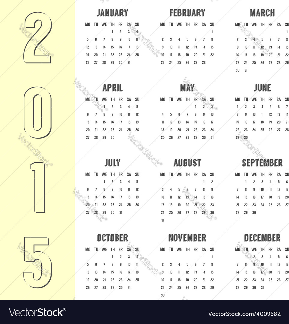 Simple calendar of 2015 year with the yellow side vector | Price: 1 Credit (USD $1)
