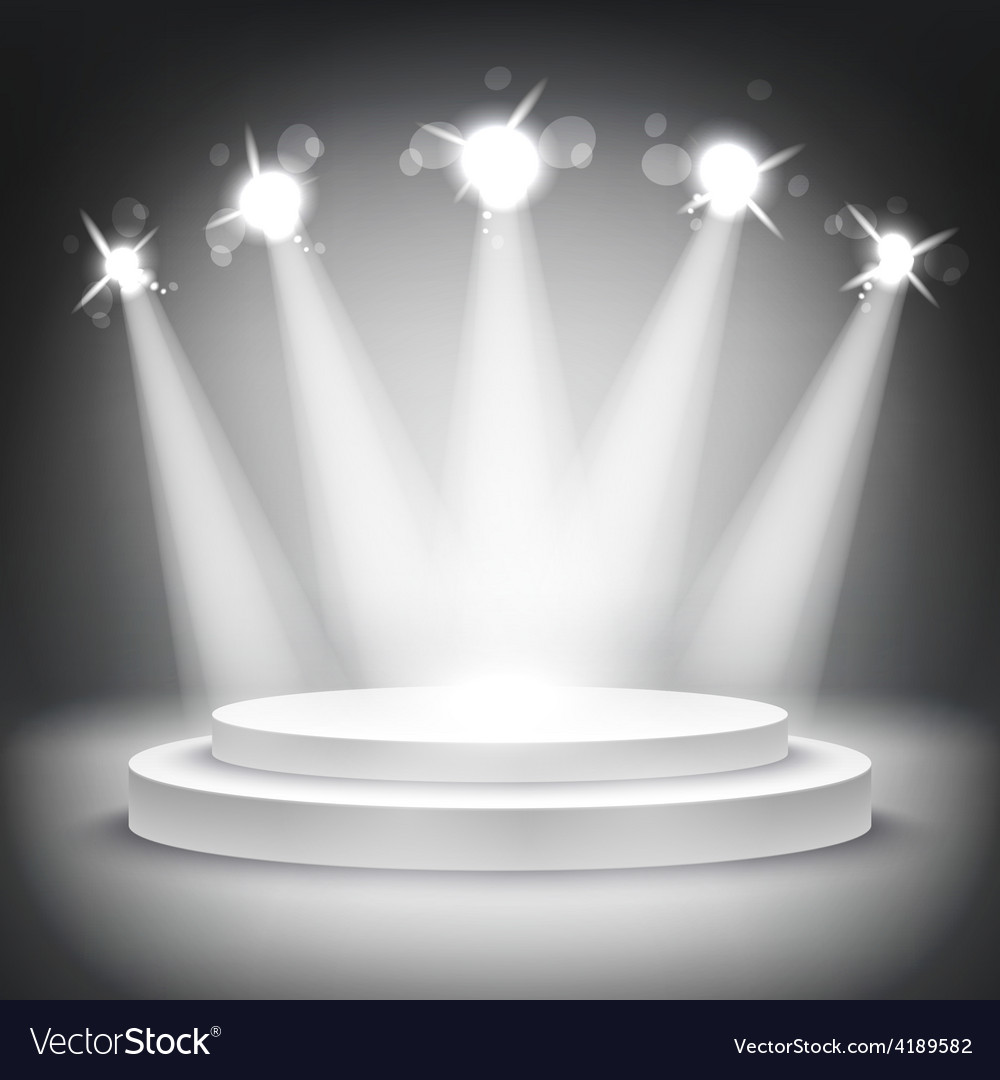 Studio with podium and spotlights grey show light vector | Price: 1 Credit (USD $1)