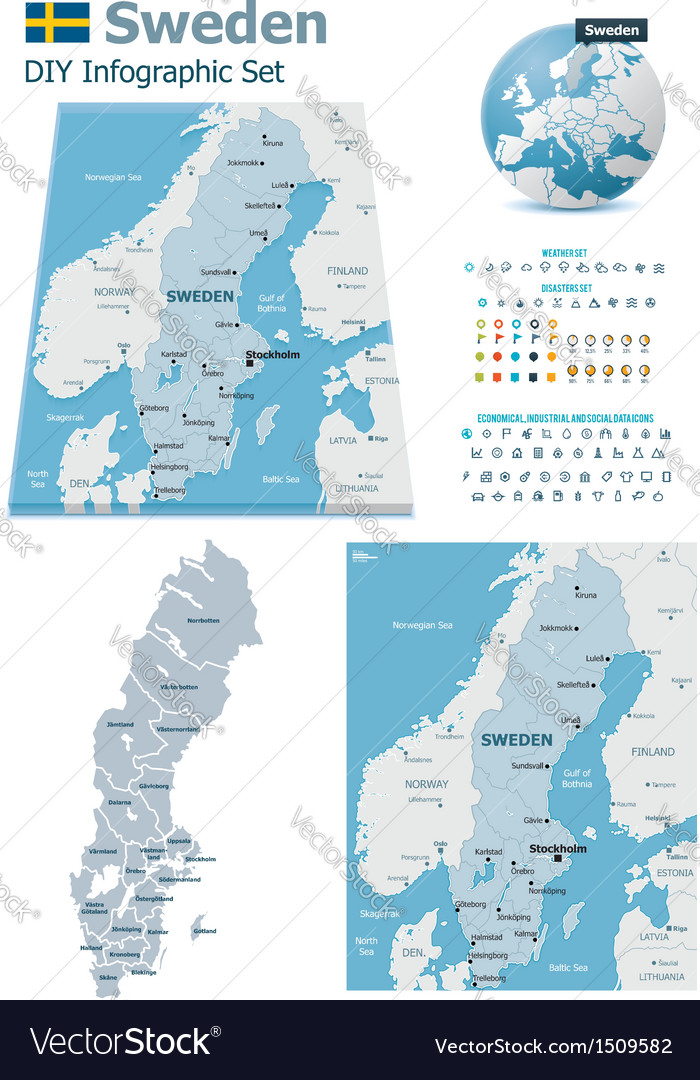 Sweden maps with markers vector | Price: 3 Credit (USD $3)