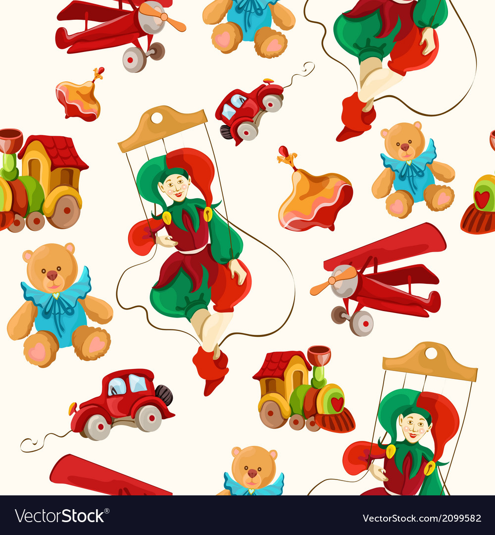 Toys colored drawn seamless pattern vector | Price: 1 Credit (USD $1)