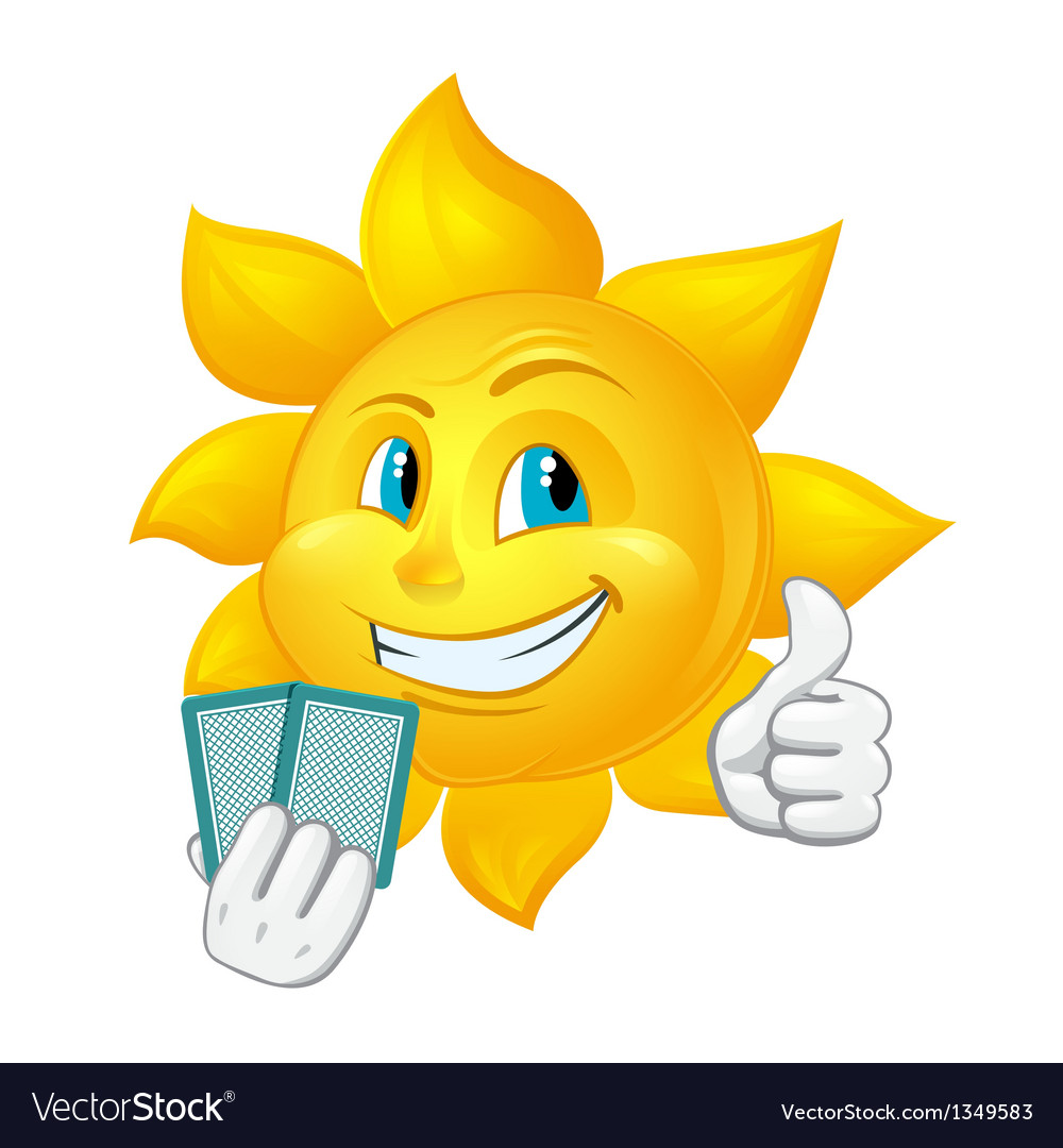 Cartoon sun is playing blackjack vector | Price: 1 Credit (USD $1)