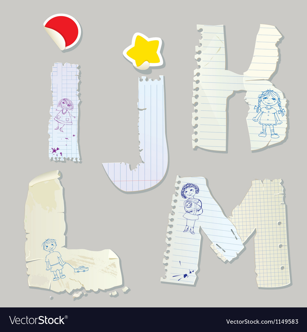 English alphabet - letters are made of old paper vector   Price: 1 Credit (USD $1)
