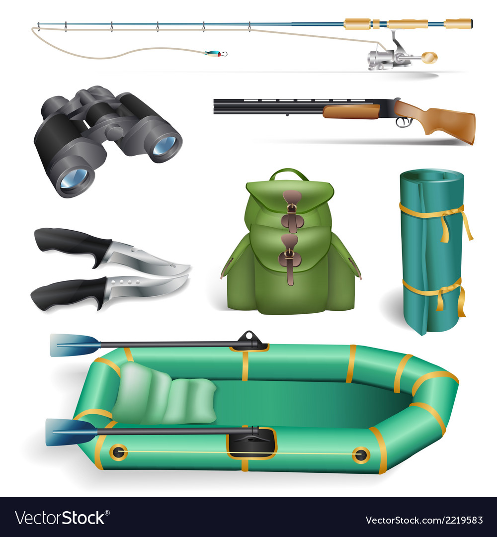 Ishing and hunting objects vector