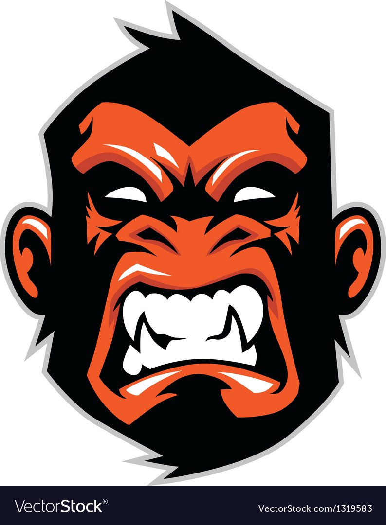 Monkey head mascot vector | Price: 1 Credit (USD $1)