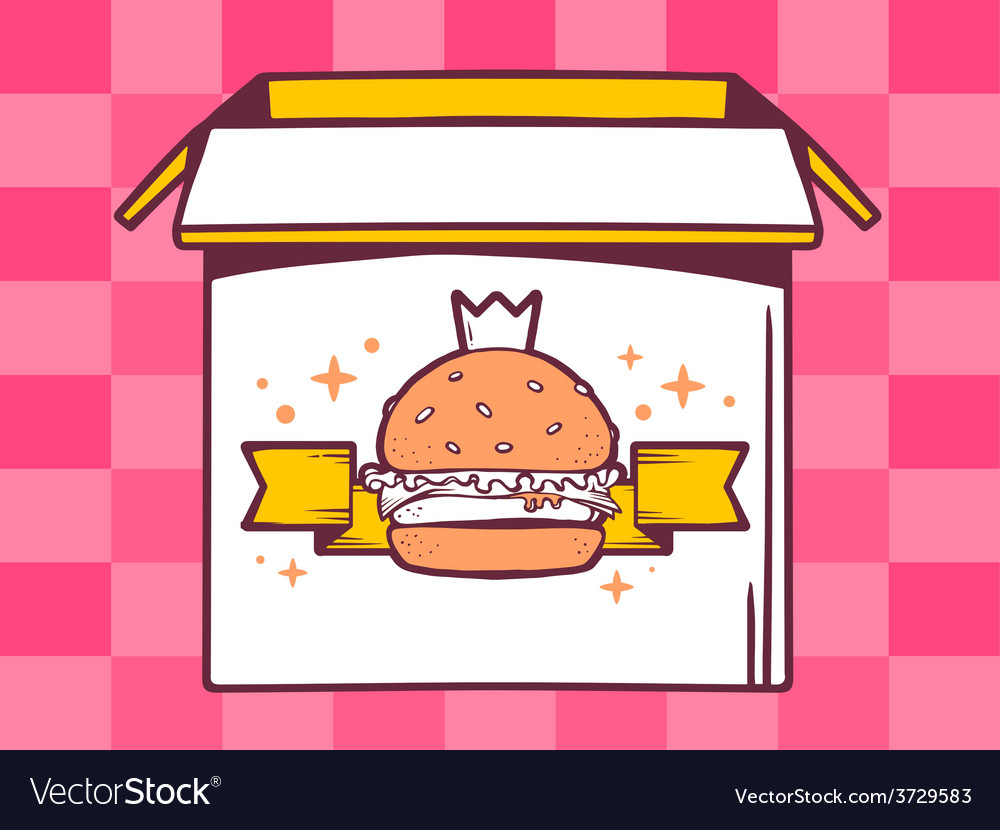 Open box with icon of big burger with cr vector | Price: 1 Credit (USD $1)