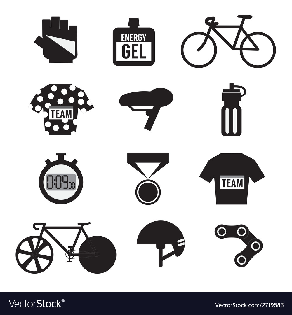 Set of bicycle and accessories vector | Price: 1 Credit (USD $1)