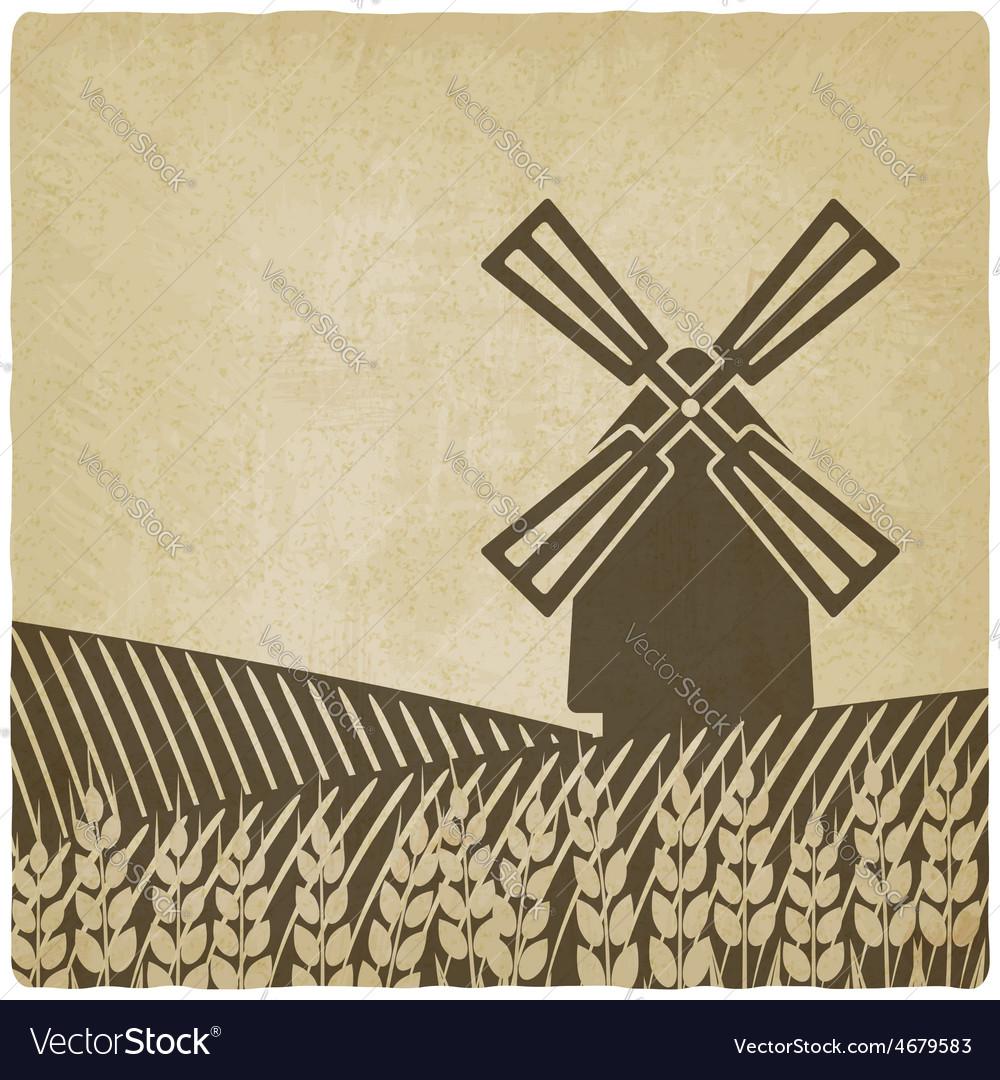 Windmill in wheat field vector | Price: 1 Credit (USD $1)