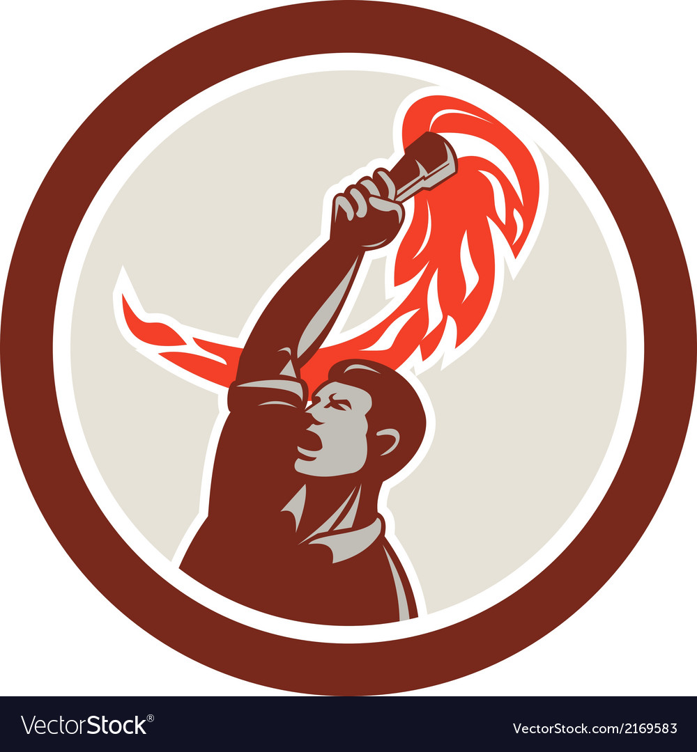 Worker holding up flaming torch circle retro vector | Price: 1 Credit (USD $1)