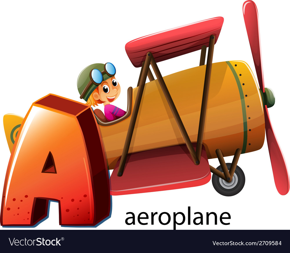 A letter a for aeroplane vector | Price: 3 Credit (USD $3)