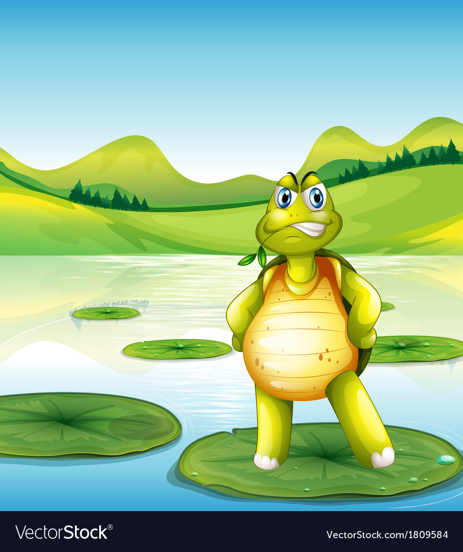 A turtle at the pond standing above a waterlily vector | Price: 1 Credit (USD $1)