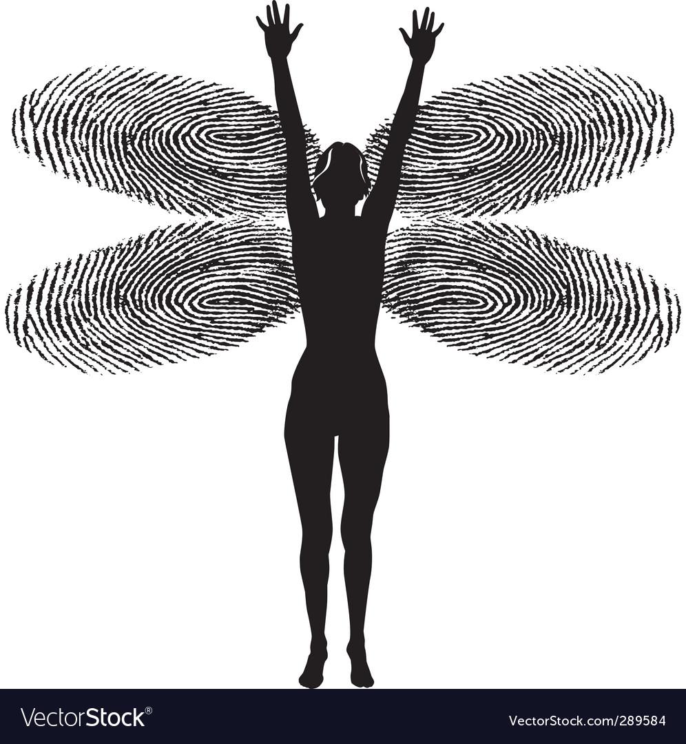 Fingerprint woman dragonfly vector | Price: 1 Credit (USD $1)