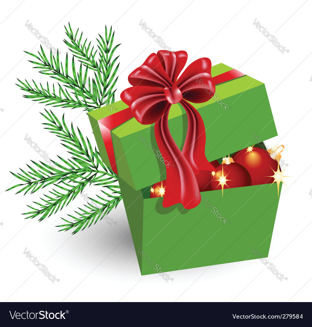 Gift box with christmas decorations vector | Price: 1 Credit (USD $1)