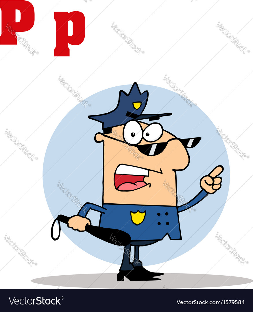 Police officer with letter cartoon vector | Price: 1 Credit (USD $1)