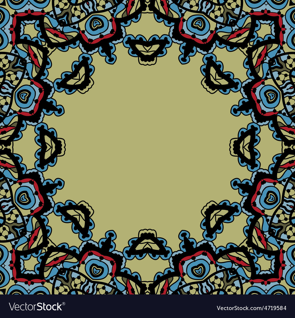 Seamless mandala frame for text oriental style vector | Price: 1 Credit (USD $1)