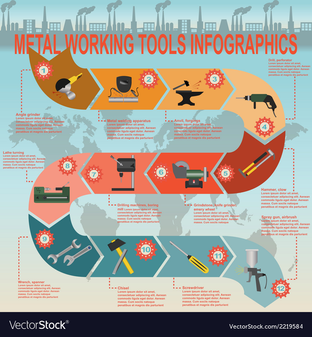 Set of metal working tools infographics vector | Price: 1 Credit (USD $1)