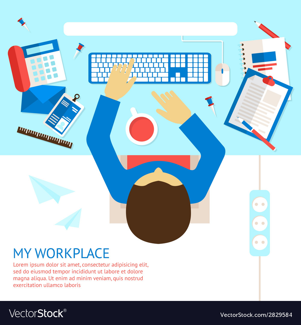 Top view office man vector   Price: 1 Credit (USD $1)