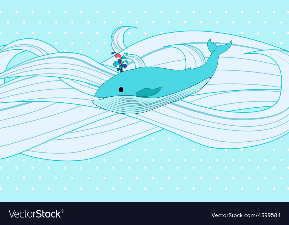 Whale on water vector | Price: 3 Credit (USD $3)