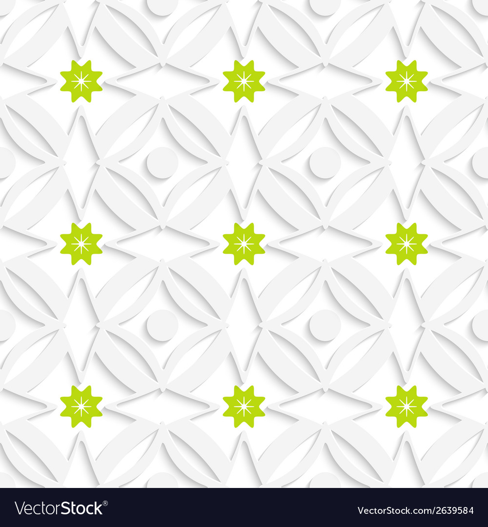 White ornament and green flowers vector | Price: 1 Credit (USD $1)