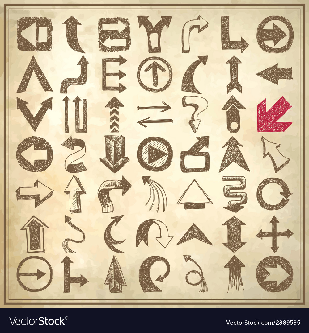 49 hand draw sketch arrow element collection icons vector | Price: 1 Credit (USD $1)