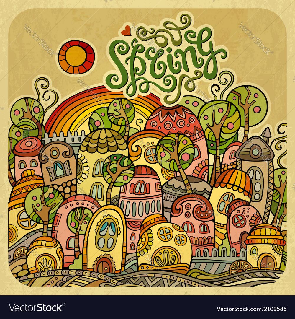 Cartoon fairy-tale spring houses vector | Price: 1 Credit (USD $1)