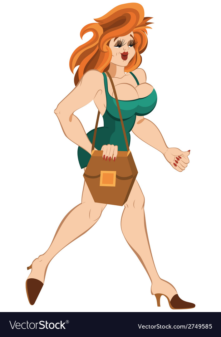 Cartoon girl in short dress and red hair walking vector | Price: 1 Credit (USD $1)