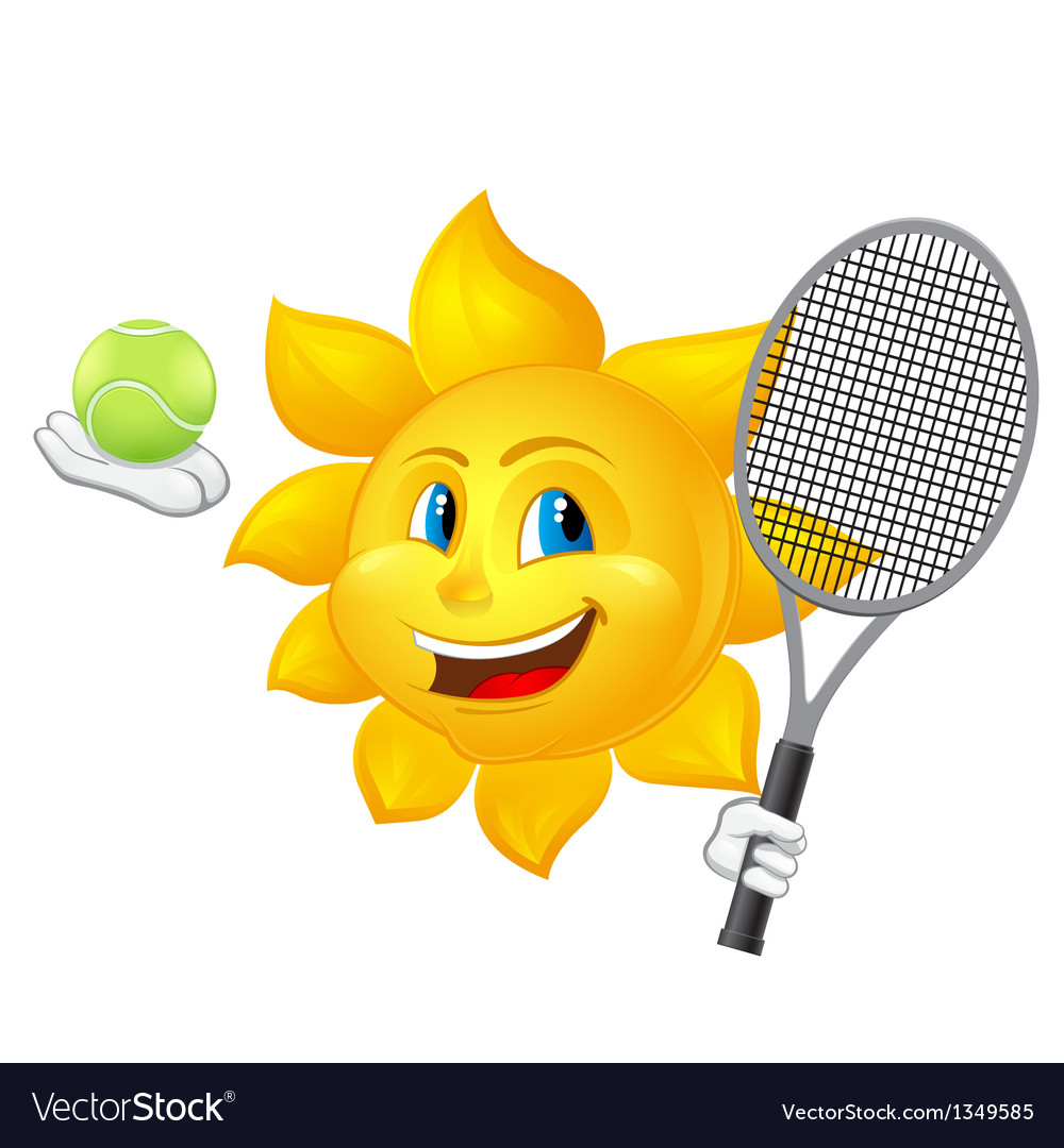 Cartoon sun is playing tennis vector | Price: 1 Credit (USD $1)