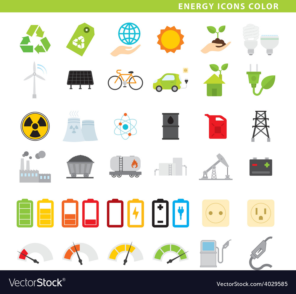 Energy icons color vector | Price: 1 Credit (USD $1)