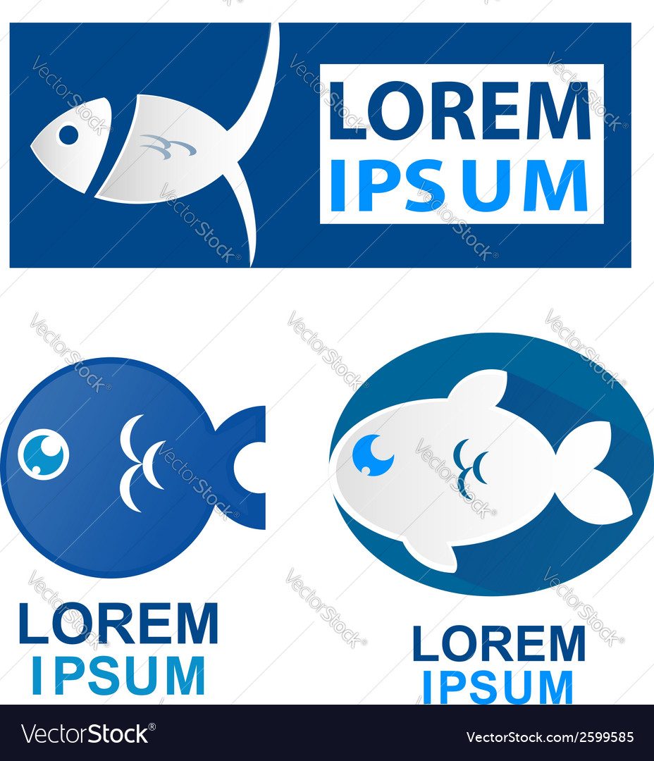 Fish symbol set vector | Price: 1 Credit (USD $1)
