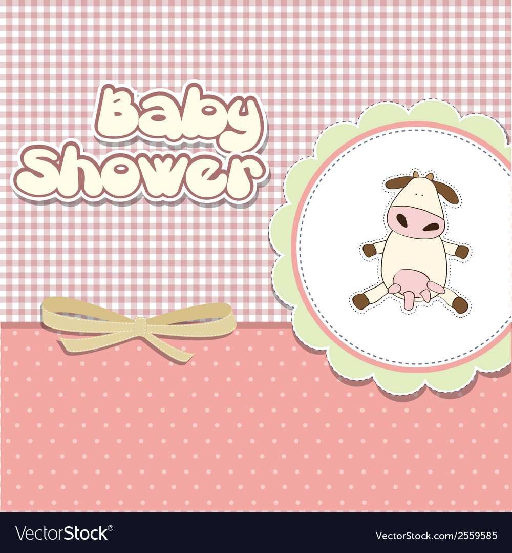 New baby announcement card with cow vector | Price: 1 Credit (USD $1)