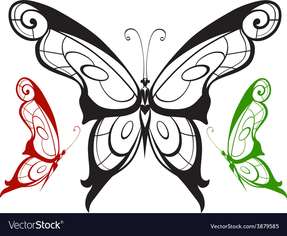 Ornamented abstract silhouette butterfly vector   Price: 1 Credit (USD $1)