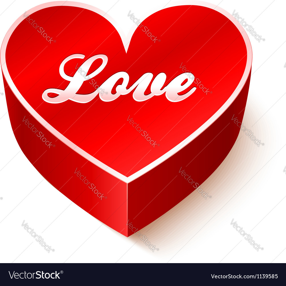 Red 3d heart with sign love vector | Price: 1 Credit (USD $1)