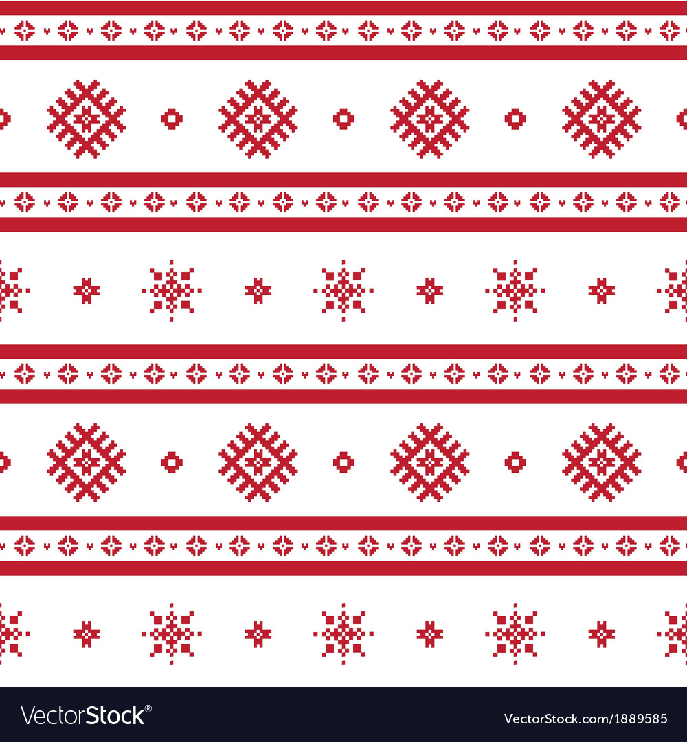 Red nordic knitted seamless pattern vector   Price: 1 Credit (USD $1)