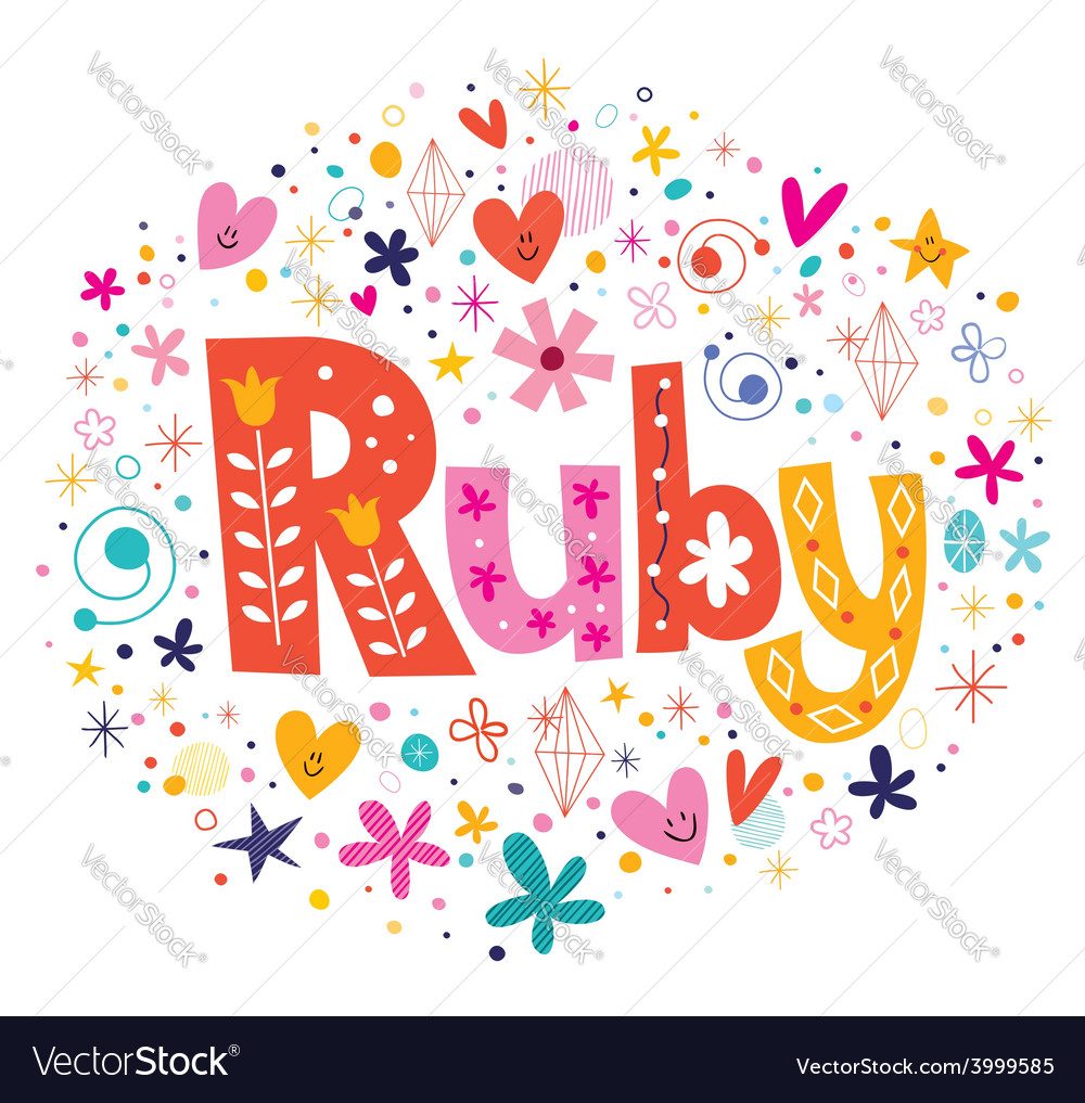 Ruby female name decorative lettering type design vector | Price: 1 Credit (USD $1)