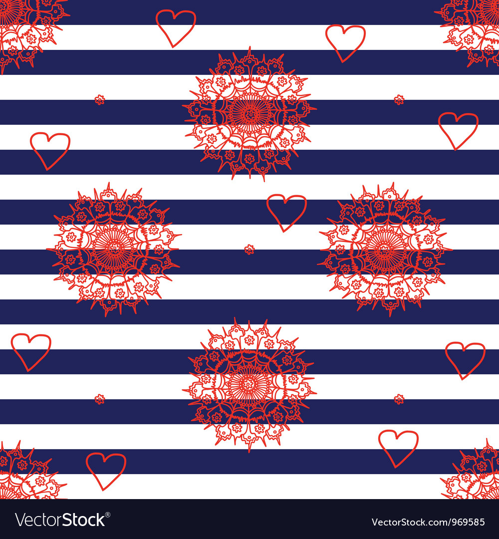Seamless flower pattern with navy stripes vector | Price: 1 Credit (USD $1)