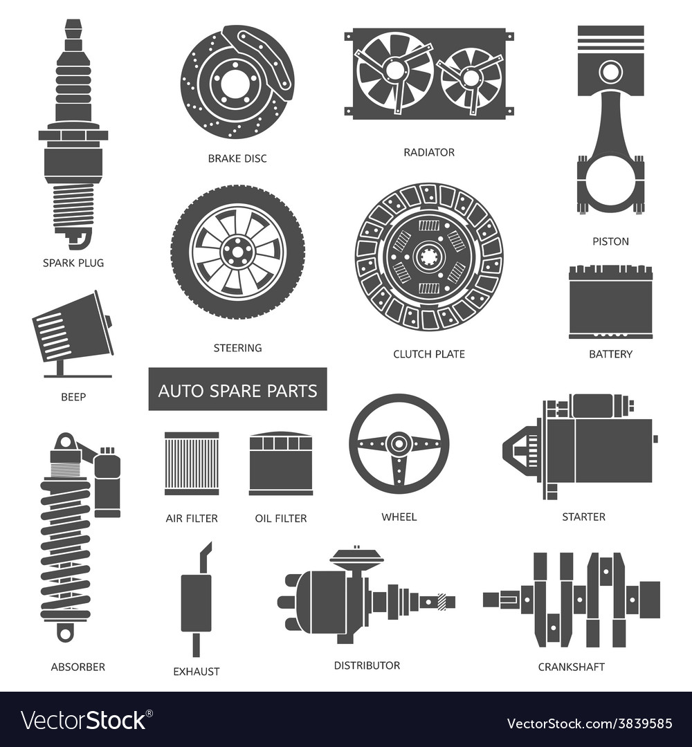 Set of auto spare parts car repair icons in flat vector | Price: 1 Credit (USD $1)