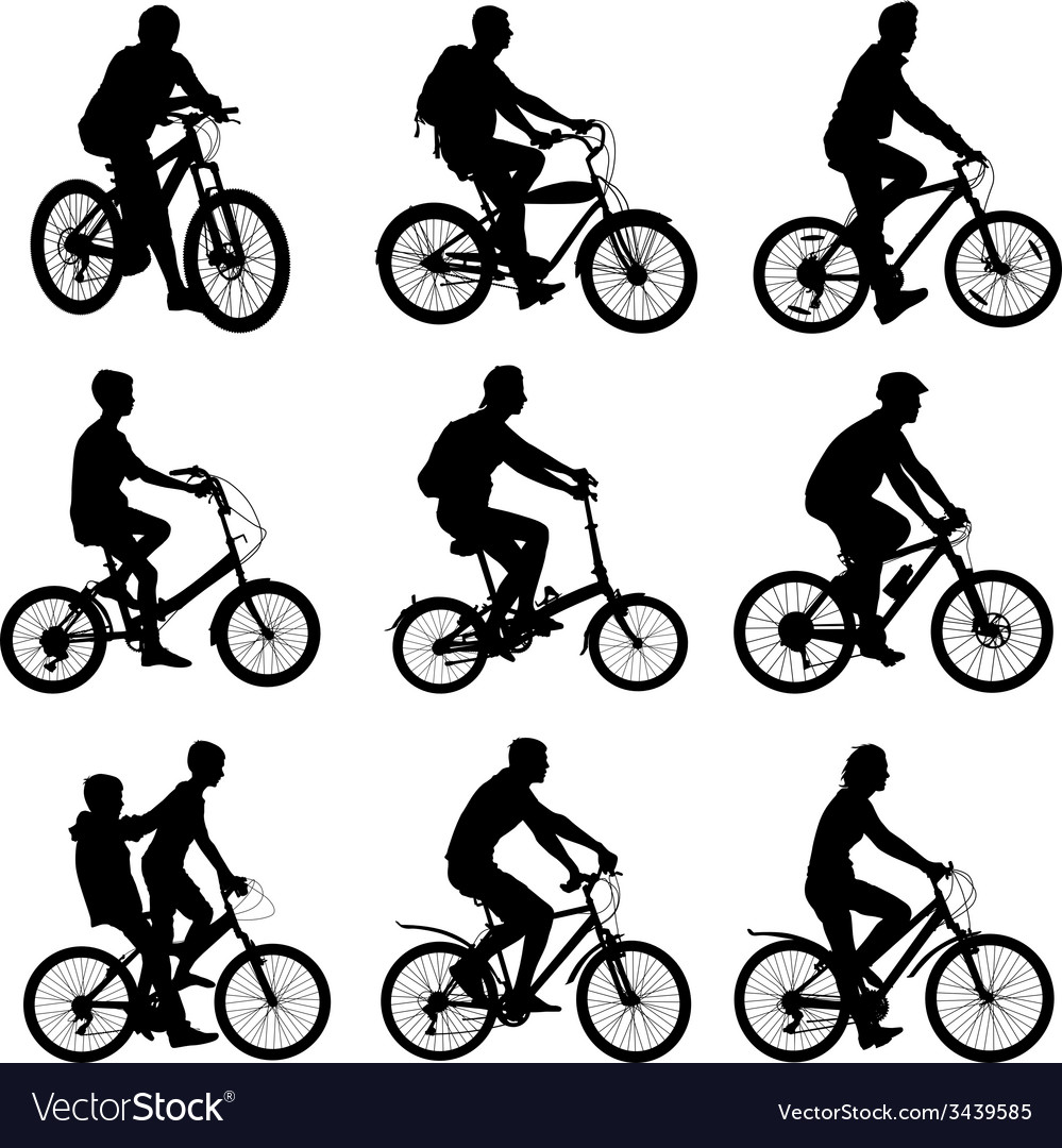 Set silhouette of a cyclist male and female vector | Price: 1 Credit (USD $1)