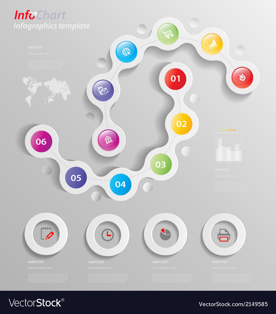 Stylized infographics presentationoption template vector | Price: 1 Credit (USD $1)