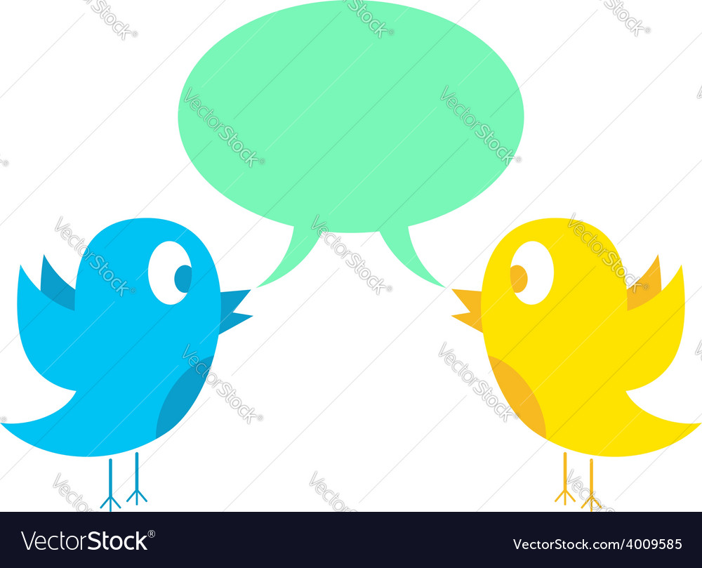 Two birds tweeting vector | Price: 1 Credit (USD $1)