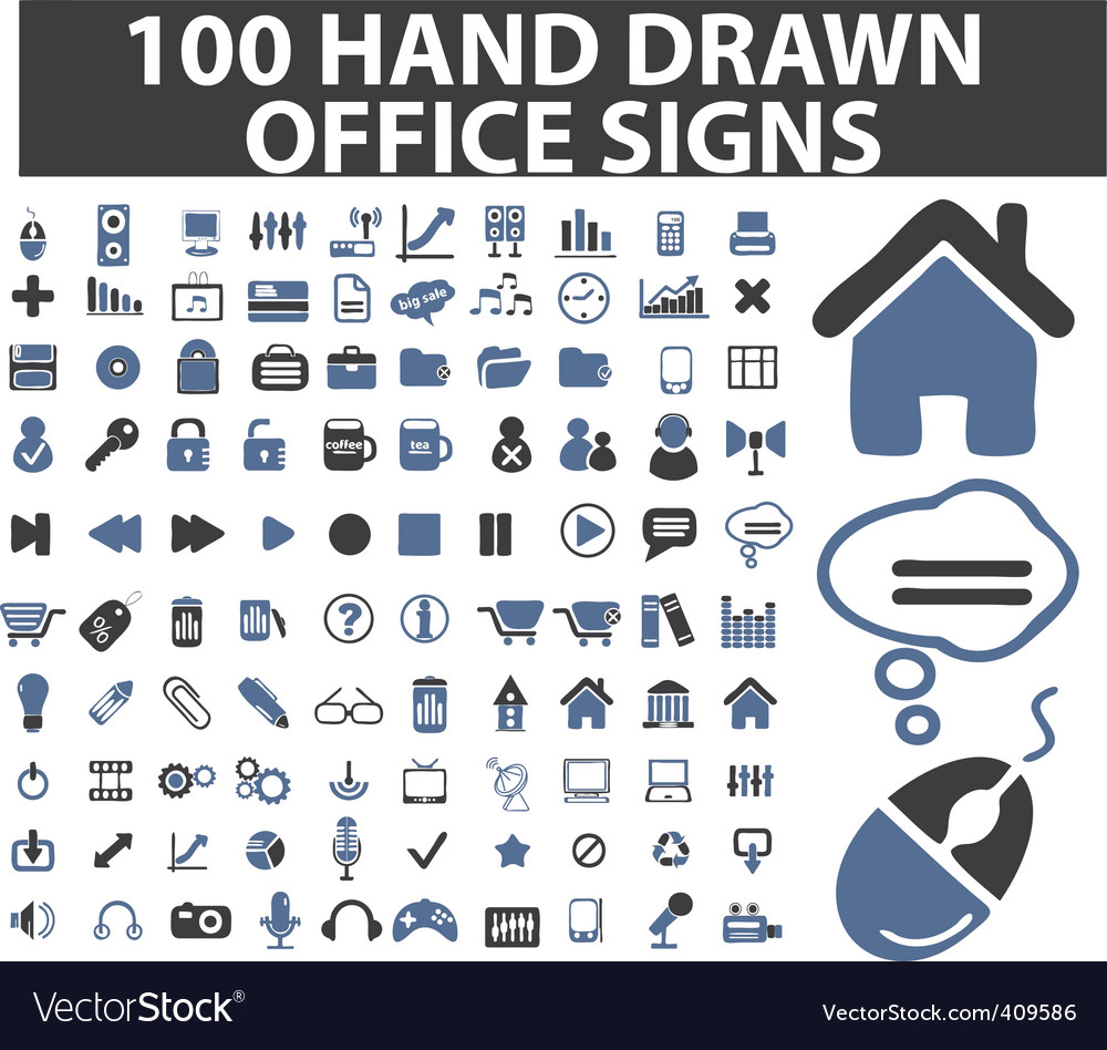 100 simple hand drawn signs vector | Price: 1 Credit (USD $1)