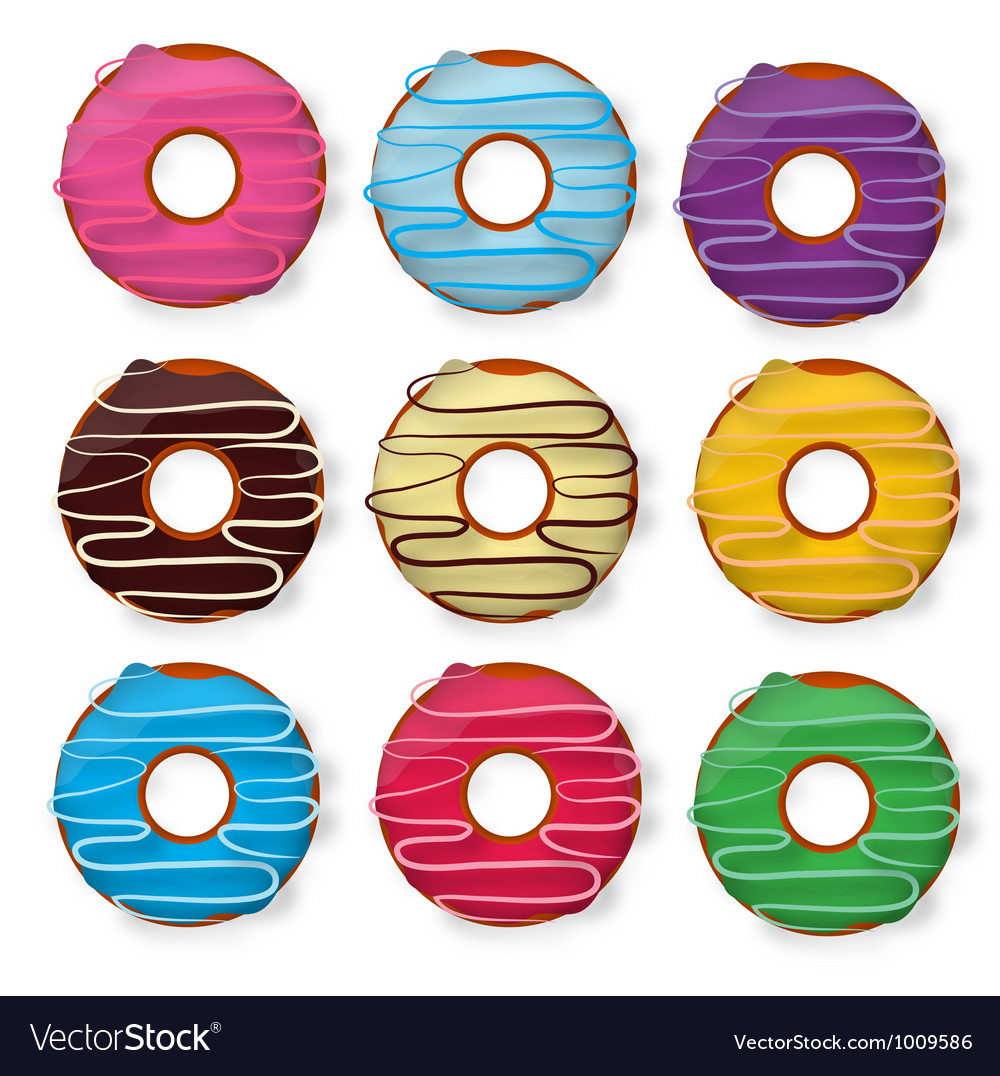 Colorful delicious donuts isolated on white vector | Price: 1 Credit (USD $1)