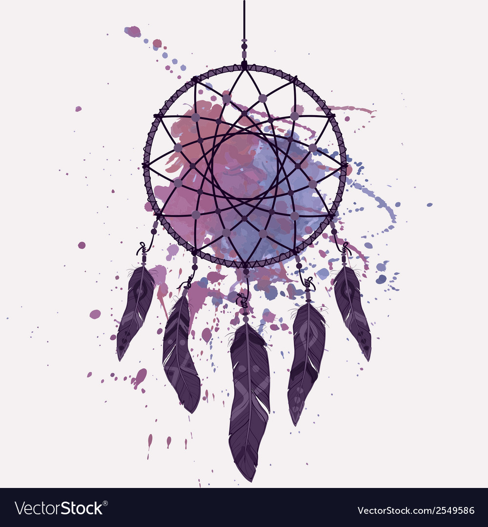 Dream catcher with watercolor splash vector | Price: 1 Credit (USD $1)