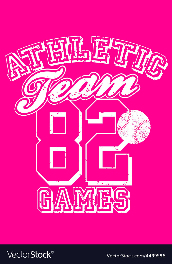 Female athletic team basebal design on pink vector | Price: 1 Credit (USD $1)