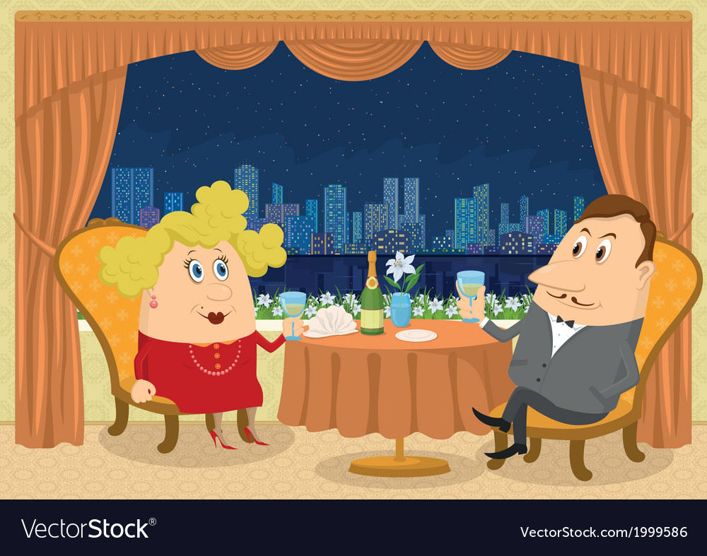 Gentleman and lady in restaurant vector | Price: 1 Credit (USD $1)