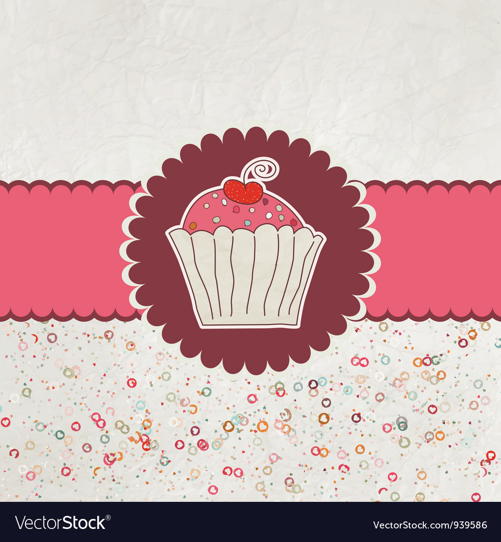 Happy birthday card cupcake eps 8 vector | Price: 1 Credit (USD $1)