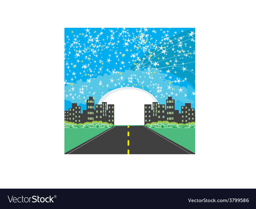 Highway to city with large moon vector | Price: 1 Credit (USD $1)