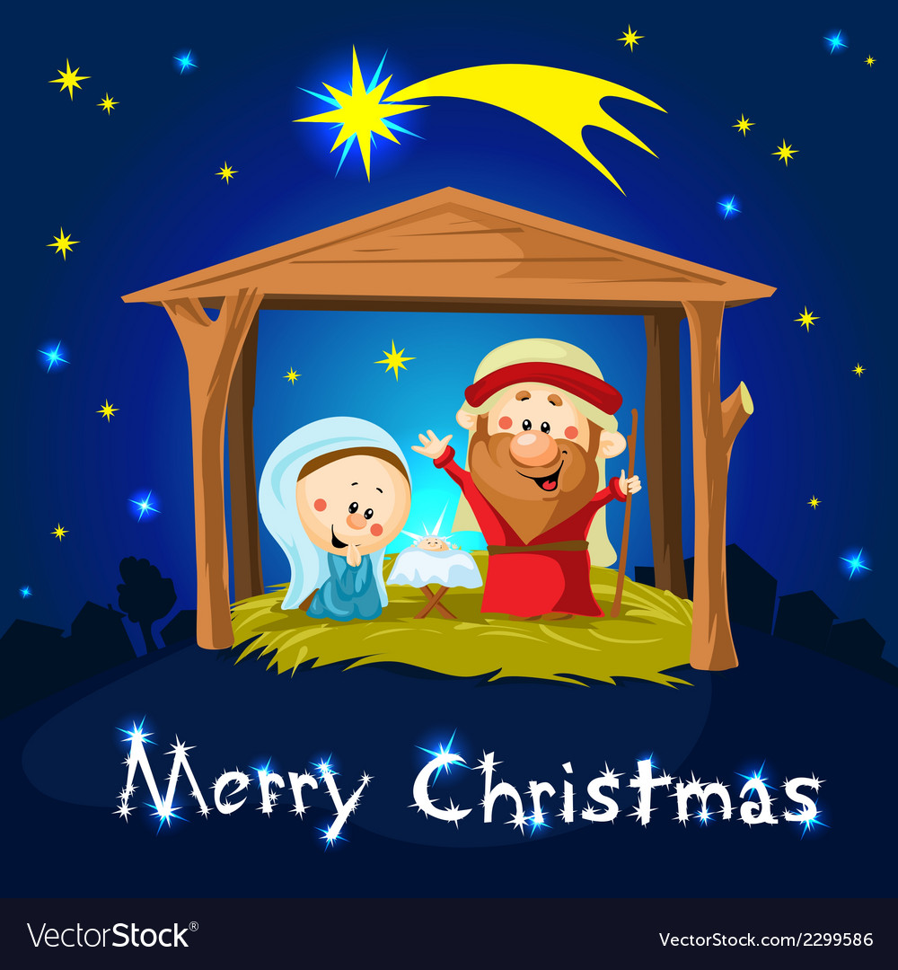 Merry xmas nativity in bethlehem - christmas vector | Price: 1 Credit (USD $1)